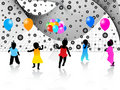 Kids silhouettes and abstract Royalty Free Stock Photo