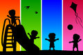 Kids Silhouettes at the Park [2] Royalty Free Stock Photo