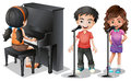 Kids singing and playing piano