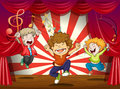 Kids singing at the stage illustration of Royalty Free Stock Photo