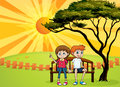 Kids sitting on a bench illustration of and beautiful landscape Royalty Free Stock Photo