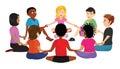 Kids sitting circle
