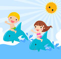 Kids sitting on dolphin illustration of Royalty Free Stock Photo