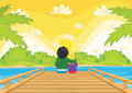 Kids sitting on pier vector illustration Royalty Free Stock Images