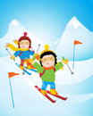 Kids skiing Stock Image