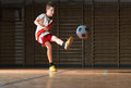 Kids soccer little boy shooting at goal Royalty Free Stock Photos