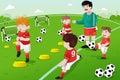 Kids in soccer practice Royalty Free Stock Photo