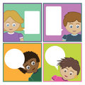 Kids with speech bubbles Stock Photography