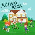 Kids sport,  boy and girl playing active games vector Royalty Free Stock Photo