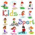 Kids sport, isolated boy and girl playing active games vector Royalty Free Stock Photo