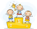Kids and sport little champions happy Stock Photos
