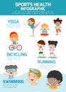 Kids With Sports Health Infographics, Sports Health concept people exercise set Royalty Free Stock Photo