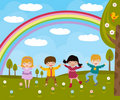 Kids in spring Stock Images