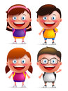 Kids students vector characters set with happy faces wearing backpacks Royalty Free Stock Photo