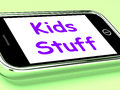 Kids stuff on phone means online activities meaning for children Stock Photo
