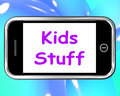 Kids stuff on phone means online activities meaning for children Stock Photos