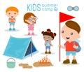 Kids summer camp, Kids on a Camping Trip.