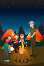 Kids in summer camp a vector illustration of and their counselor having a bonfire a Royalty Free Stock Images