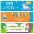 Kids summer party banners. Invitations, advertisements with happy children having outdoor beach activity