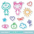Kids and summer symbols vector hand drawn stickers Royalty Free Stock Photo