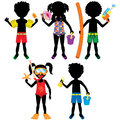 Kids swimsuit silhouettes vector illustration of different summer dressed for beach or pool Royalty Free Stock Image