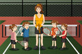 Kids in a tennis club with the instructor vector illustration of Stock Photography