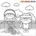 Kids tennis players at tennis court taking a break coloring book page
