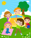 Kids and tent Royalty Free Stock Photo