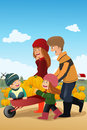 Kids and their parents on a pumpkin patch vector illustration of happy having fun with Stock Photos