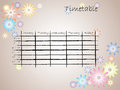 Kids timetable for school color with flower silhouettes Stock Photography