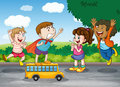 Kids and toy bus Royalty Free Stock Photos