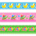Kids toys borders seamless patterns Royalty Free Stock Image