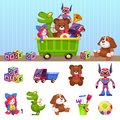 Kids toys box. Children toy container with playing blocks cars house and beer isolated vector cartoon set