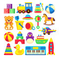 Kids toys cartoon vector icons collection