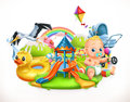 Kids and toys. Children playground vector illustration