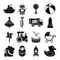 Kids toys icons set, simple style