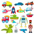 Kids toys vector cartoon games helicopter or ship submarine for children and playing with car or train illustration