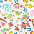Kids toys vector seamless pattern. Color toy for baby boy and girl, cartoon illustration. Cute white background print.