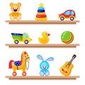 Kids toys on wood shop shelves. Including horse, teddy bear, ball, cubes toys Royalty Free Stock Photo