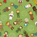 Kids in traditional costumes seamless pattern cartoon different Stock Image