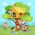 Kids Tree House Vector Illustr...
