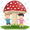 Kids under a Giant Mushroom Stock Photos