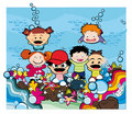Kids under the sea Royalty Free Stock Photo