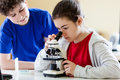 Kids using microscope examining preparation under the Royalty Free Stock Photos