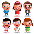Kids vector characters boys and girls set with happy smile and different outfits