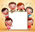 Kids vector characters playing musical instruments and singing with blank white