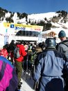 Kids wait in the lift line portes du soleil france feb on feb near avoriaz france Royalty Free Stock Photos