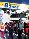 Kids wait in the lift line portes du soleil france feb on feb near avoriaz france Royalty Free Stock Photography