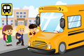 Kids waiting to get on a school bus vector illustration of Royalty Free Stock Images