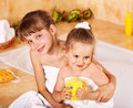 Kids washing in bath. Royalty Free Stock Photography
